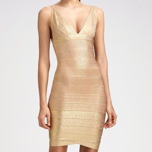Herve Leger Gold Foil Bandage Dress
